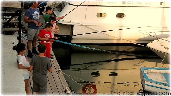 Kids Fishing Larnaca Marina